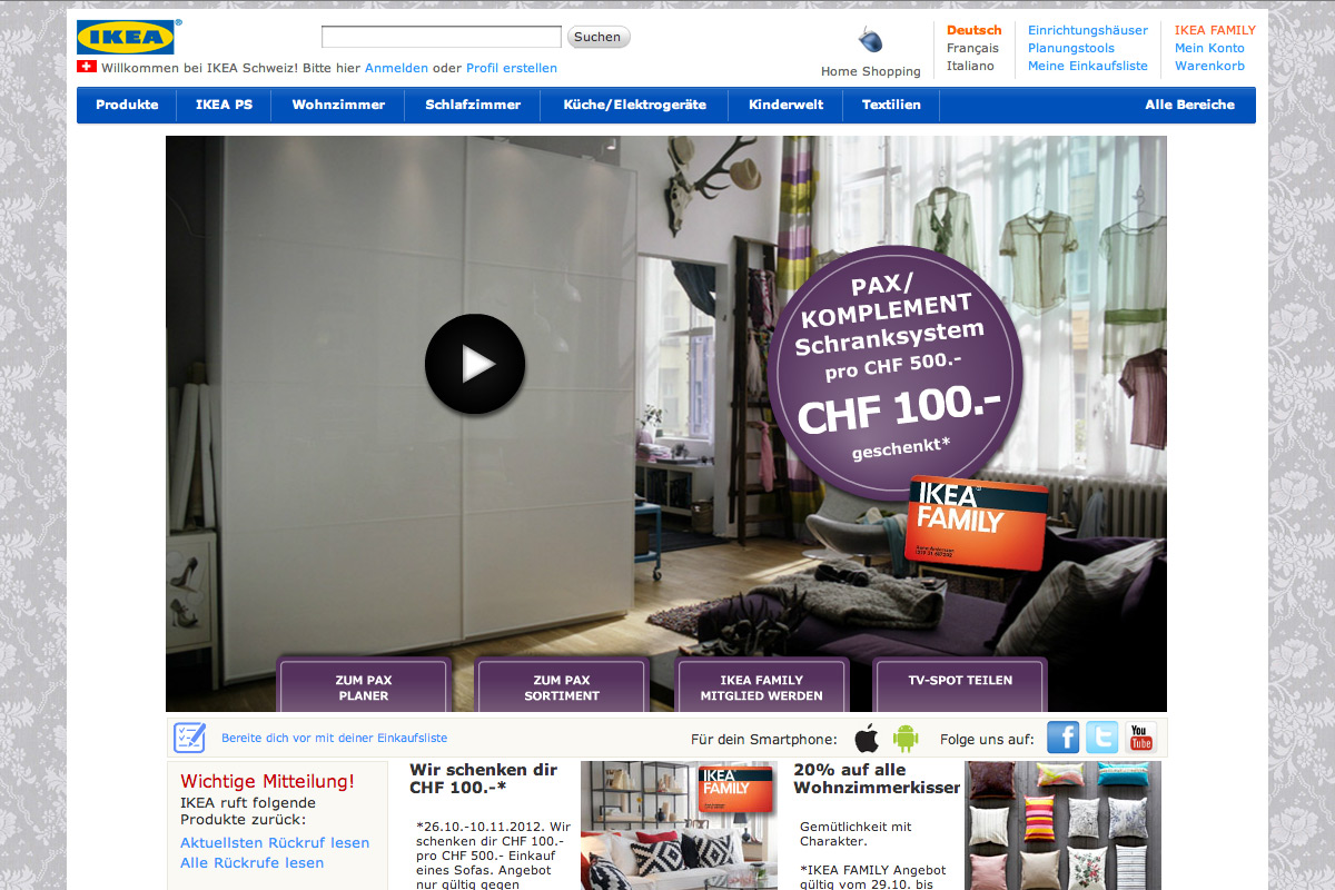 IKEA Schweiz Animation Homepage
